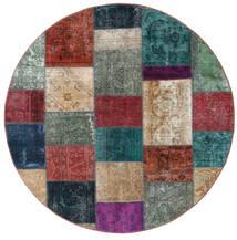 Patchwork - Persien/Iran Dywan Ø 200 Nowoczesny Tkany Ręcznie Okrągły Ciemnoczerwony/Ciemnoniebieski (Wełna, Persja/Iran)