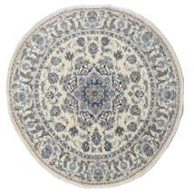 Nain Dywan Ø 200 Orientalny Tkany Ręcznie Okrągły Ciemnoszary/Jasnoszary/Ciemnobeżowy (Wełna, Persja/Iran)