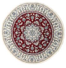 Nain Dywan Ø 200 Orientalny Tkany Ręcznie Okrągły Beżowy/Ciemnoczerwony (Wełna, Persja/Iran)