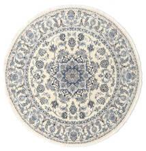 Nain Dywan Ø 200 Orientalny Tkany Ręcznie Okrągły Beżowy/Jasnoszary (Wełna, Persja/Iran)