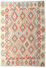 Kilim Afgan Old Style Dywan 202X287 Orientalny Tkany Ręcznie Ciemnobeżowy/Beżowy (Wełna, Afganistan)