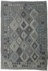 Kilim Afgan Old Style Dywan 203X289 Orientalny Tkany Ręcznie Ciemnozielony/Zielony/Jasnoszary (Wełna, Afganistan)