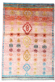 Moroccan Berber - Afghanistan Dywan 94X139 Nowoczesny Tkany Ręcznie Jasnoróżowy/Beżowy (Wełna, Afganistan)