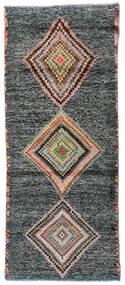 Moroccan Berber - Afghanistan Dywan 79X193 Nowoczesny Tkany Ręcznie Chodnik Ciemnoszary/Ciemny Turkus (Wełna, Afganistan)