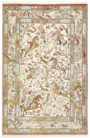 Kom Jedwab Dywan 132X203 Orientalny Tkany Ręcznie Beżowy/Ciemnobeżowy (Jedwab, Persja/Iran)