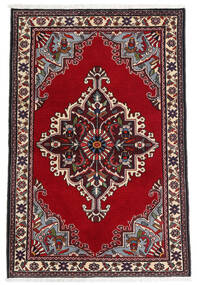 Saruk Dywan 90X135 Orientalny Tkany Ręcznie Ciemnoczerwony/Beżowy (Wełna, Persja/Iran)