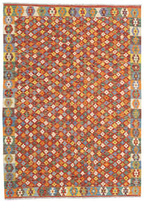 Kilim Afgan Old Style Dywan 168X236 Orientalny Tkany Ręcznie Ciemnoczerwony/Pomarańczowy (Wełna, Afganistan)