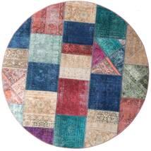 Patchwork - Persien/Iran Dywan Ø 200 Nowoczesny Tkany Ręcznie Okrągły Ciemnoniebieski/Fioletowy (Wełna, Persja/Iran)