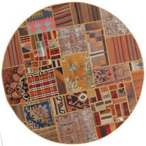 Tekkeh Kilim Dywan Ø 151 Nowoczesny Tkany Ręcznie Okrągły Ciemnobrązowy/Jasnobrązowy/Brązowy (Wełna, Persja/Iran)