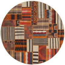 Tekkeh Kilim Dywan Ø 200 Nowoczesny Tkany Ręcznie Okrągły Ciemnobrązowy/Brązowy (Wełna, Persja/Iran)