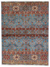 Sharbargan Dywan 106X143 Nowoczesny Tkany Ręcznie Ciemnobrązowy/Niebieski (Wełna, Afganistan)
