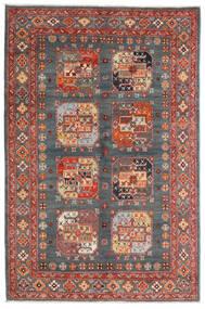 Kazak Dywan 120X181 Orientalny Tkany Ręcznie Ciemnoszary/Ciemnoczerwony (Wełna, Afganistan)