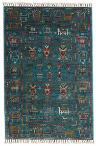 Sharbargan Dywan 84X125 Nowoczesny Tkany Ręcznie Ciemnoniebieski/Ciemny Turkus (Wełna, Afganistan)