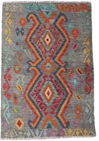 Kilim Afgan Old Style Dywan 99X146 Orientalny Tkany Ręcznie Ciemnoszary/Jasnoszary (Wełna, Afganistan)