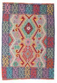 Kilim Afgan Old Style Dywan 105X147 Orientalny Tkany Ręcznie Jasnoszary/Ciemnoniebieski (Wełna, Afganistan)