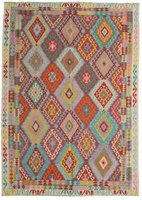 Kilim Afgan Old Style Dywan 206X287 Orientalny Tkany Ręcznie Ciemnoczerwony/Turkusowy Niebieski (Wełna, Afganistan)
