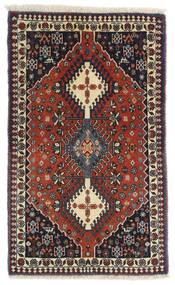 Yalameh Dywan 63X102 Orientalny Tkany Ręcznie Ciemnobrązowy/Ciemnoczerwony (Wełna, Persja/Iran)