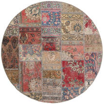 Patchwork - Persien/Iran Dywan Ø 150 Nowoczesny Tkany Ręcznie Okrągły Brązowy/Jasnoszary (Wełna, Persja/Iran)