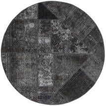 Patchwork - Persien/Iran Dywan Ø 150 Nowoczesny Tkany Ręcznie Okrągły Ciemnoszary/Czarny (Wełna, Persja/Iran)