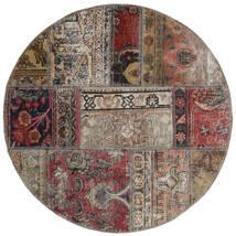 Patchwork - Persien/Iran Dywan Ø 100 Nowoczesny Tkany Ręcznie Okrągły Jasnoszary/Ciemnobrązowy (Wełna, Persja/Iran)