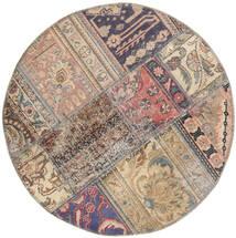Patchwork - Persien/Iran Dywan Ø 100 Nowoczesny Tkany Ręcznie Okrągły Jasnoszary/Ciemnoszary (Wełna, Persja/Iran)