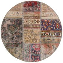 Patchwork - Persien/Iran Dywan Ø 100 Nowoczesny Tkany Ręcznie Okrągły Jasnoszary/Jasnobrązowy (Wełna, Persja/Iran)