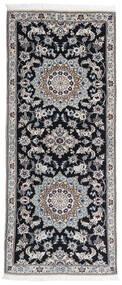 Nain 9La Dywan 82X199 Orientalny Tkany Ręcznie Chodnik Jasnoszary/Czarny (Wełna/Jedwab, Persja/Iran)