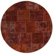 Patchwork - Persien/Iran Dywan Ø 200 Nowoczesny Tkany Ręcznie Okrągły Ciemnobrązowy/Ciemnoczerwony (Wełna, Persja/Iran)