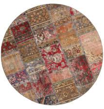 Patchwork - Persien/Iran Dywan Ø 200 Nowoczesny Tkany Ręcznie Okrągły Brązowy/Ciemnoczerwony (Wełna, Persja/Iran)