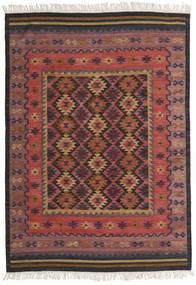 Kilim Marmaris Dywan 160X230 Nowoczesny Tkany Ręcznie Ciemnoczerwony/Czarny (Wełna, Indie)