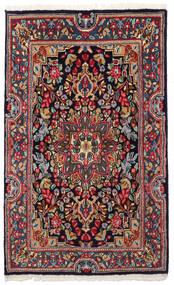 Kerman Dywan 90X149 Orientalny Tkany Ręcznie Ciemnoszary/Ciemnoniebieski (Wełna, Persja/Iran)
