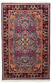 Kerman Dywan 91X148 Orientalny Tkany Ręcznie Ciemnoczerwony/Czarny (Wełna, Persja/Iran)