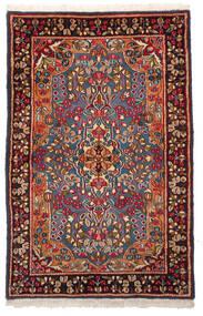 Kerman Dywan 96X148 Orientalny Tkany Ręcznie Ciemnoczerwony/Ciemnobrązowy (Wełna, Persja/Iran)