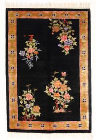 Chińskie Art Jedwab 120 Line Dywan 122X183 Orientalny Tkany Ręcznie Czarny/Biały/Creme ( Chiny)