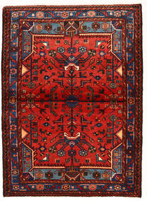 Nahawand Dywan 104X143 Orientalny Tkany Ręcznie Ciemnoczerwony/Rdzawy/Czerwony (Wełna, Persja/Iran)