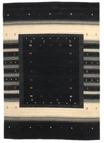 Loribaf Loom Dywan 169X243 Nowoczesny Tkany Ręcznie Czarny/Beżowy (Wełna, Indie)