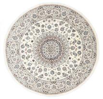 Nain 9La Dywan Ø 250 Orientalny Tkany Ręcznie Okrągły Biały/Creme/Ciemnoszary Duży (Wełna/Jedwab, Persja/Iran)