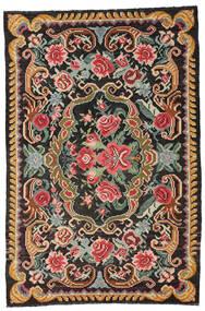 Kilim Rose Moldavia Dywan 191X285 Orientalny Tkany Ręcznie Czarny/Ciemnoszary (Wełna, Mołdawia)