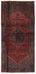 Hamadan Dywan 102X212 Orientalny Tkany Ręcznie Czarny/Ciemnobrązowy (Wełna, Persja/Iran)