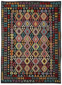 Kilim Afgan Old Style Dywan 253X346 Orientalny Tkany Ręcznie Czarny/Ciemnoszary Duży (Wełna, Afganistan)